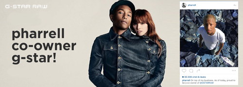 Post image for Pharrell Williams wordt mede-eigenaar van G-Star RAW
